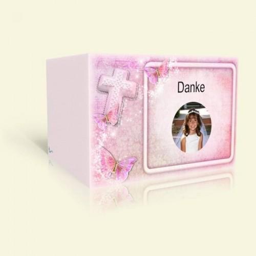 Danksagungskarte zur Kommunion - Pink