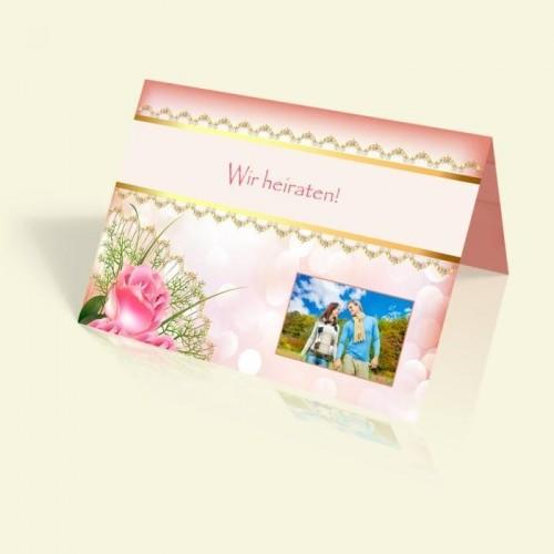 Einladungskarte Hochzeit - Pink Rose - vertikal klappbar