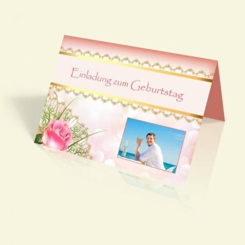 Geburtstagseinladung - Pink Rose - vertikal klappbar