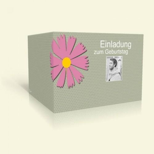 Einladungskarte zum Geburtstag - Rosa Blume und Punkte