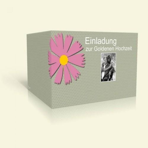 Einladungskarte Goldene Hochzeit - Rosa Blume und Punkte
