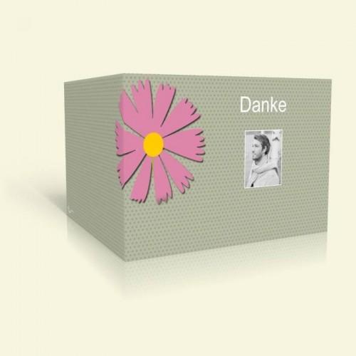 Dankeskarte Geburtstag - Rosa Blume und Punkte