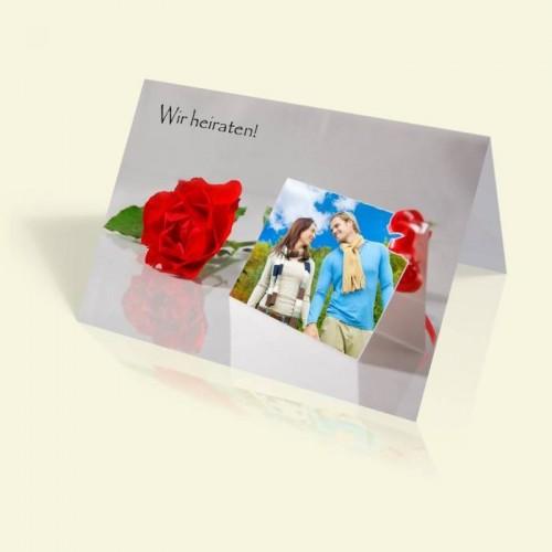 Hochzeitskarte - Fotokarte mit Rosen - vertikal klappbar