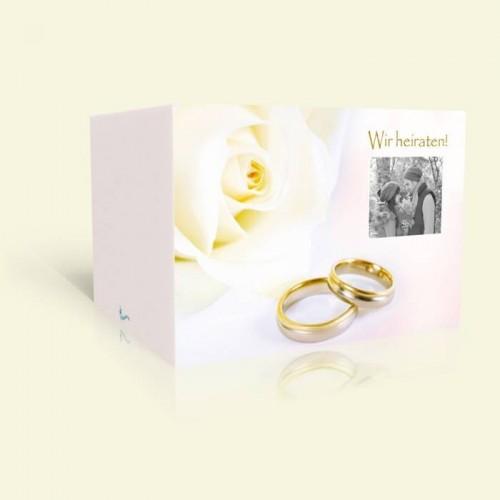 Hochzeitskarte Hochzeitsringe mit Rose