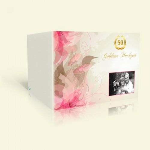Goldene Hochzeit Einladung Rosa Lilien