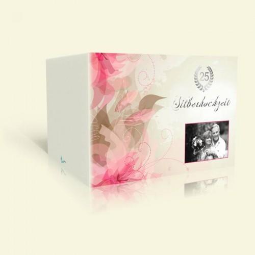 Silberhochzeit Einladungskarte Rosa Lilien