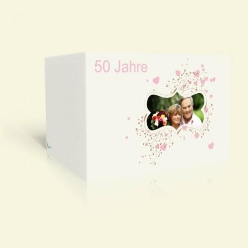Einladungskarte Goldene Hochzeit - Ornament mit Rosa Herzen