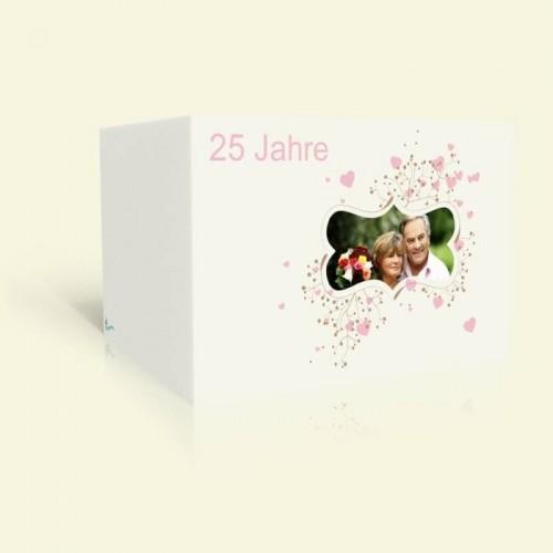 Einladungskarte Silberhochzeit - Ornament mit Rosa Herzen