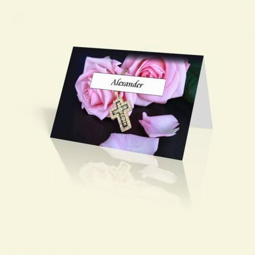 Tischkarte Rosa Rosen mit Kreuz