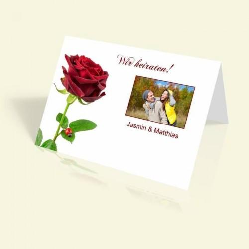 Einladungskarte zur Hochzeit - Rote Rose - vertikal klappbar