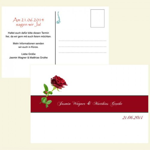 Save the Date Karte - Rote Rose