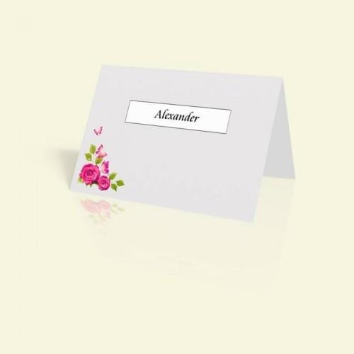 Tischkarte Rosen und Schmetterlinge in Pink