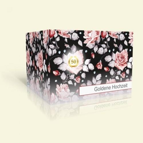 Einladungskarte Goldhochzeit - Rosenmuster
