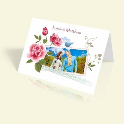 Hochzeitseinladung - Rosenrahmen Rosarot - vertikal klappbar