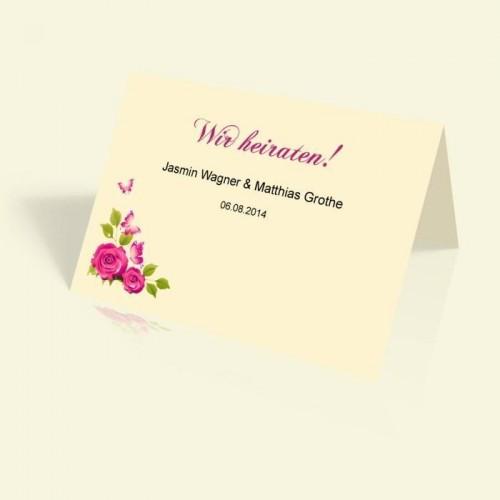 Hochzeitseinladung - Rosenranke - vertikal klappbar