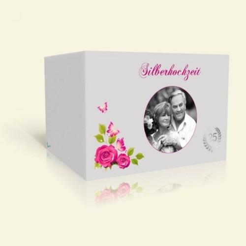 Einladungskarte zur Silberhochzeit Rosenranke