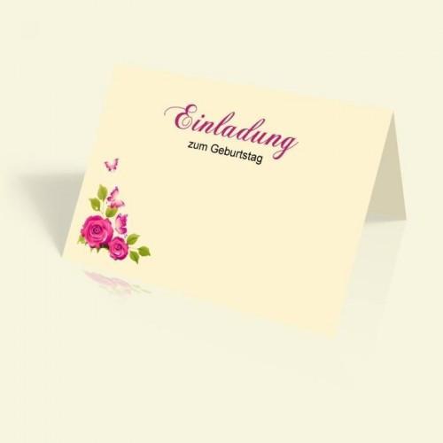 Geburtstagskarte - Rosenranke - vertikal klappbar