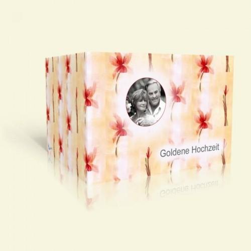 Einladungskarte zur Goldenen Hochzeit - Lilienmuster