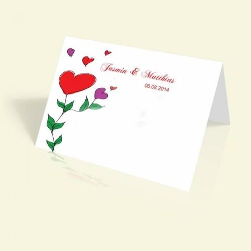 Hochzeitseinladung - Rote Herzen - vertikal klappbar