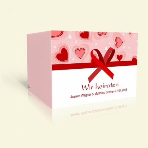 Einladungkarte zur Hochzeit - Herzen und Schleife