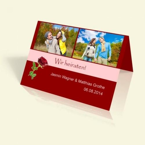 Hochzeitseinladung - Rot wie die Liebe - vertikal klappbar