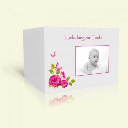 Einladungskarte zur Taufe Rosen und Schmetterlinge in Pink
