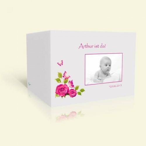 Geburtskarte Rosen und Schmetterlinge in Pink
