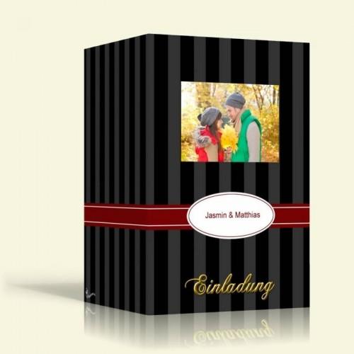 Hochzeitskarten  - Schwarze Streifen - Hochformat