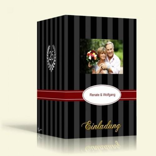 Einladungskarte Silberhochzeit - Schwarze Streifen - Hochformat
