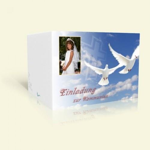 Einladung Kommunion - Weiße Tauben im Himmel