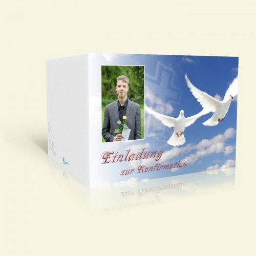 Konfirmationskarte Weiße Tauben im Himmel