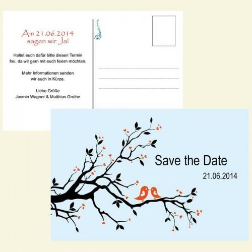 Save the Date Karte - Verliebte Vögel