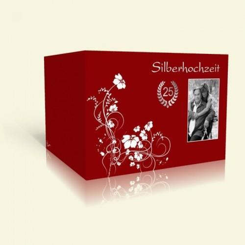 Einladung Silberhochzeit Weiße Blumenranke