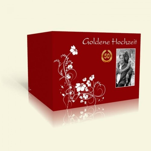 Einladungskarte Goldene Hochzeit Weiße Blumenranke