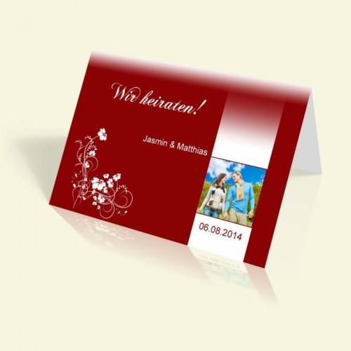 Einladung zur Hochzeit - Weiße Blumenranke - vertikal klappbar