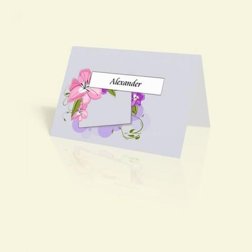 Tischkarte Zarte Pastellblüten
