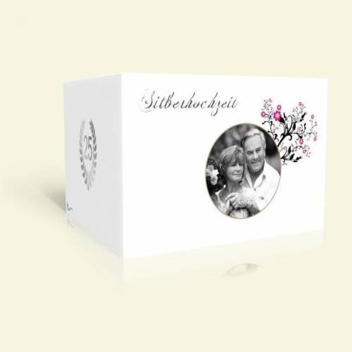 Einladung Silberhochzeit Zartes Rosenornament