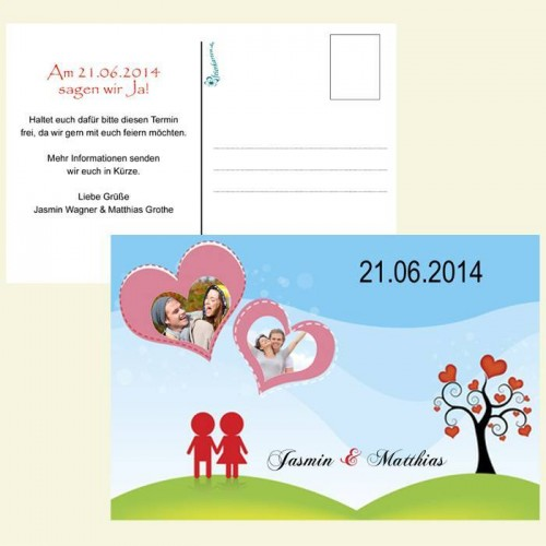 Save the Date Karte - Illustrierte Herzen