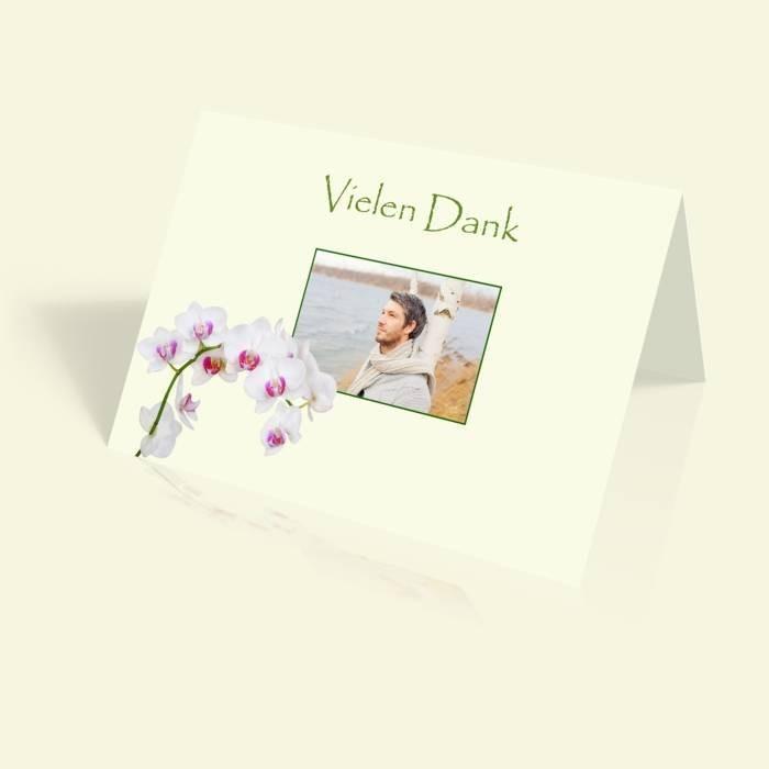 danksagungskarte geburtstag orchidee vertikal klappbar. Black Bedroom Furniture Sets. Home Design Ideas