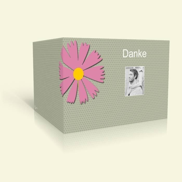 dankeskarte geburtstag rosa blume und punkte. Black Bedroom Furniture Sets. Home Design Ideas