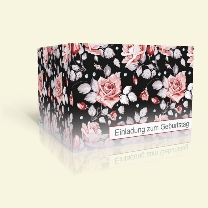 einladungskarte zum geburtstag rosenmuster. Black Bedroom Furniture Sets. Home Design Ideas
