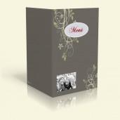 Menükarte - Blumenranke - Dunkelgrau