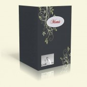 Menükarte - Blumenranke - Anthrazit