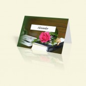 Tischkarte Bibel mit Blumen
