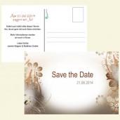 Save the Date Karte - Blüten in Braun