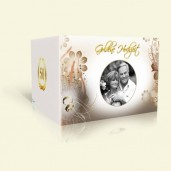 Einladung Goldene Hochzeit Blüten in Braun