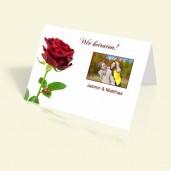 Hochzeitseinladung Rote Rose - vertikal klappbar
