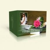 Kommunionseinladung - Bibel mit Blumen