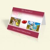 Hochzeitseinladung 2 rote Herzen - vertikal klappbar