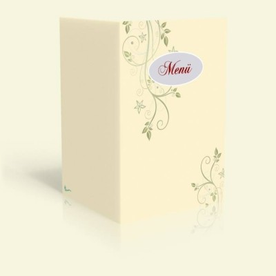 Menükarte - Blumenranke - Vanille